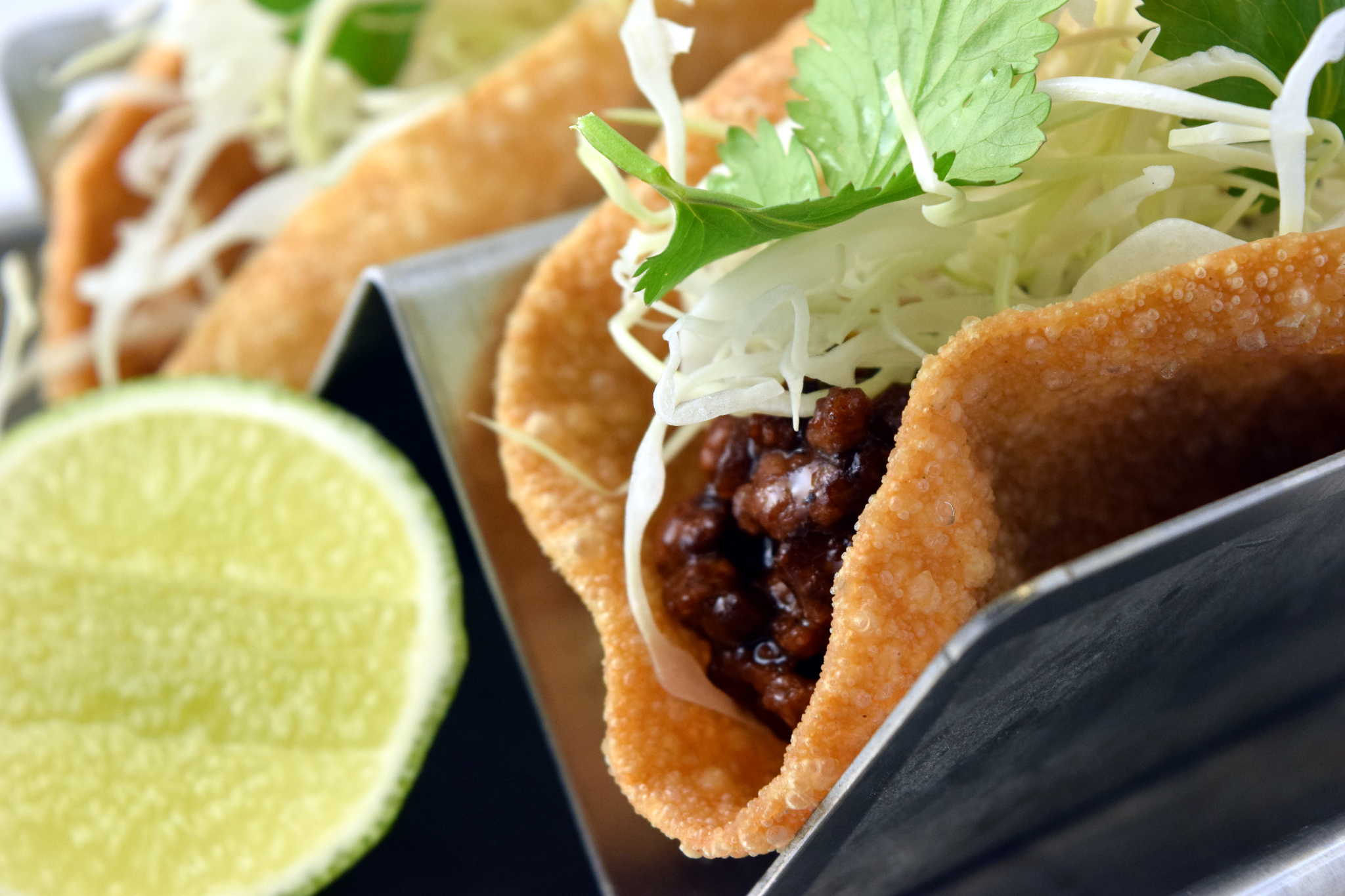 On the Menu: Chinese Black Pepper Beef Egg Roll Skin Tacos
